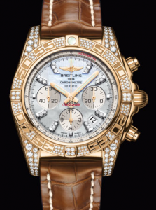 Diamond Breitling Chronomat 01 Replica Watches With Brown Straps
