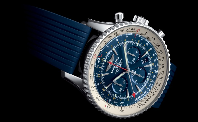 UK Fake Breitling Navitimer GMT Watches With Blue Rubber Straps