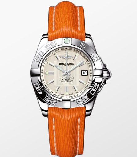 Breitling Galactic Replica Cheap Ladies' Watches With Orange Leather Straps Of Good Quality