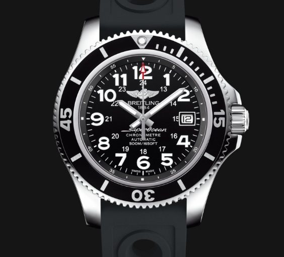 UK Black Rubber Straps Breitling Superocean II 44 Replica Diving Watches For Cheap Sale