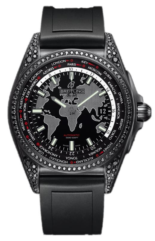 Functional duplication Breitling watches are featured with world map.