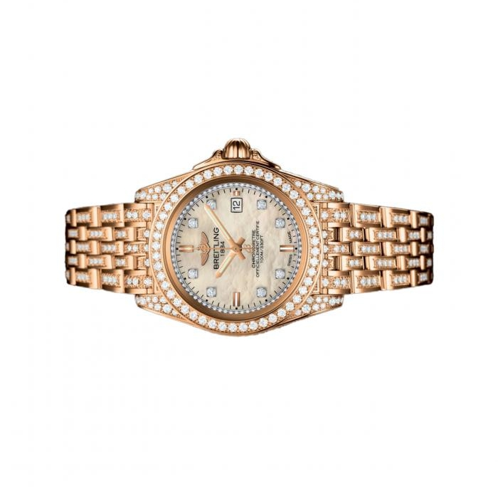 The white dials copy watches are decorated with diamonds.
