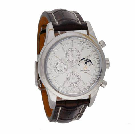 The brown strap replica watch has silvery dial.