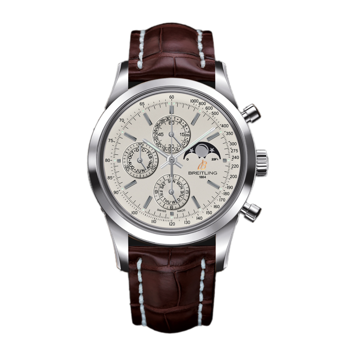 The silvery dial fake watch has moon phase.
